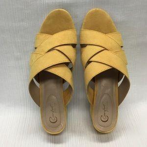 Comfort Yellow Slip On Low Heels